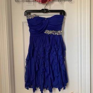 Lily Rose Royal Blue Crystal Short Prom Dress